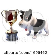 Lucky Puppy Dog Has Won The Gold Cup Trophy Award