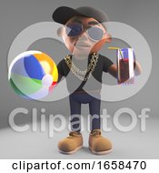 Cartoon Black Hiphop Rapper With Beach Ball And Drink