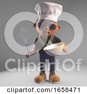 Cartoon Black Hiphop Rapper Mixing A Cake With Chef Hat