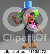 Cartoon Black Hip Hop Rapper Dressed As A Clown With Red Nose