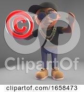 Cartoon Black Hiphop Rapper Holding A Copyright Symbol