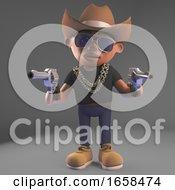 Wild West Black Hiphop Rapper Wears A Cowboy Stetson Hat And Guns