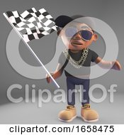 Cool Black Hiphop Rap Artist Waves The Checkered Flag