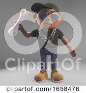 Cartoon Black Hiphop Rapper Throwing A Bone