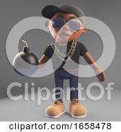 Cool Black Hiphop Rap Artist Holding A Bomb