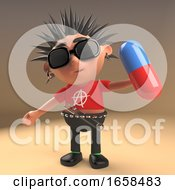 Silly Punk Rocker Holding A Pill