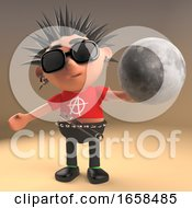 Weird Punk Rocker Holding A Globe Of The Moon