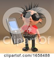 Crazy Punk Rocker Using An Old Cellphone