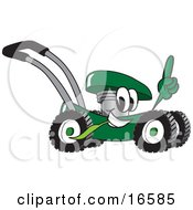 Clipart Picture Of A Green Lawn Mower Mascot Cartoon Character Passing By And Pointing Upwards by Toons4Biz
