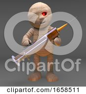 Undead Mummy Monster Holding A Syringe