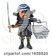 Brave Japanese Samurai Warrior Goes Shopping With His Basket