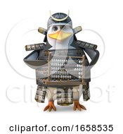 Educated Japanese Penguin Samurai Warrior Counting On An Abacus