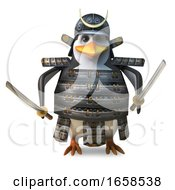 Noble Japanese Penguin Samurai Warror Wields Two Mighty Katana Swords by Steve Young