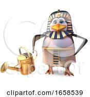 Keen Gardener Egyptian Pharaoh Penguin Tutankhamun Watering His Plants