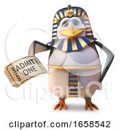 Cartoon Egyptian Penguin Pharaoh Holding A Ticket Of Admission