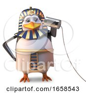 Cool Egyptian Penguin Pharaoh Using A Very Basic Tin Can Phone To Communicate by Steve Young