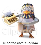 Funny Cartoon Egyptian Penuin Pharaoh Holding A Golden Typewriter