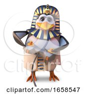 Video Game Fanatic Egyptian Pharaoh Penguin Playing With His Joystick Controller