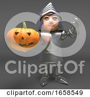 Cheerful Medieval Knight Celebrates Halloween With A Carved Pumpkin by Steve Young