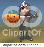 Chivalrous Medieval Knight Holds A Halloween Pumpkin by Steve Young