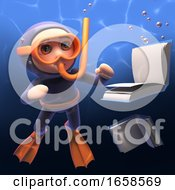 Cartoon Scuba Diver With Snorkel Watches Books Sink In The Sea