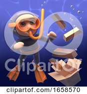 Poster, Art Print Of Gold Bullion Bars Sink In The Ocean In View Of The Snorkel Diver