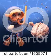 Human Brain Floats In The Sea As Snorkel Diver Looks On