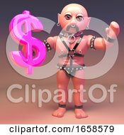 Fetish Gay Leather Man Holding A US Dollar Currency Symbol In Pink