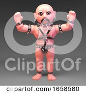 Gay Muscle Man In Bondage Fetish Outfit With Arms In The Air