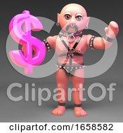 Gay Bondage Slave Fetish Man Holds US Dollar Currency Symbol