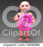 Gay Leather Bound Slave Fetish Man Holds Email Symbol In Pink