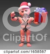 Gay Bondage Master Wears Santa Claus Hat While Holding Gift 3d Render