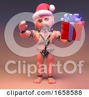 Seasonal Gay Bondage Man Wears Santa Hat And Gives A Present