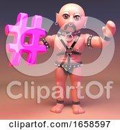 Gay Pierced Leather Fetish Man Hoding Pink Hashtag Symbol
