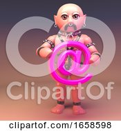 Pierced Gay Leather Fetish Man Holding A Pink Email Address Symbol