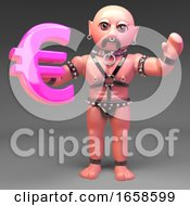 Leather Bound Gay Slave Fetish Man Holds Euro Currency Symbol