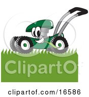 Clipart Picture Of A Green Lawn Mower Mascot Cartoon Character Mowing Grass
