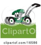 Green Lawn Mower Mascot Cartoon Character Mowing Grass