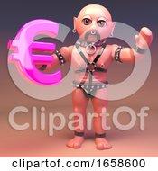 Pierced Gay Bondage Fetish Man Holding Pink Euro Currency Symbol