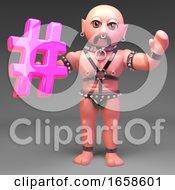 Cheerful Gay Bondage Slave Man Waves While Holding Hashtag Symbol