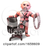 Bald Gay Man In Leather Outfit Has Chains And An Office Chair by Steve Young