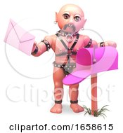 Poster, Art Print Of Gay Man In Fetish Leather Outfit Looks In His Mailbox