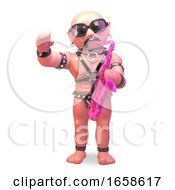 Gay Bald Man In Leather Outfit Blowing On His Pink Saxophone by Steve Young