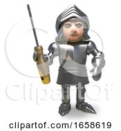 Armoured Medieval Knight Holding A Golden Screwdriver