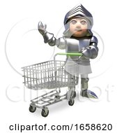 Cartoon Medieval Knight In Armour Waving While Pushing A Shopping Trolley
