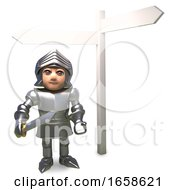 Confused Cartoon Medieval Knight In Armour Looks At The Blank Signpost For Directions
