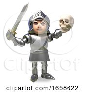 Heroic Medieval Knight In Armour Holds A Skull Aloft In Victory