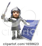 Poster, Art Print Of Forward Thinking Medieval Knight In Armour Has Invested In A Solar Panel