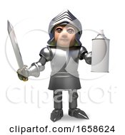 Cartoon Medieval Knight In Armour Holding A Blank Aerosol Spray Can by Steve Young