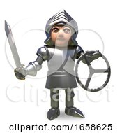 Cartoon Medieval Knight Is Holding A Car Steering Wheel